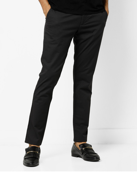 Slim Fit Urban Flat-Front Trousers By INDIAN TERRAIN ( Darkgrey )