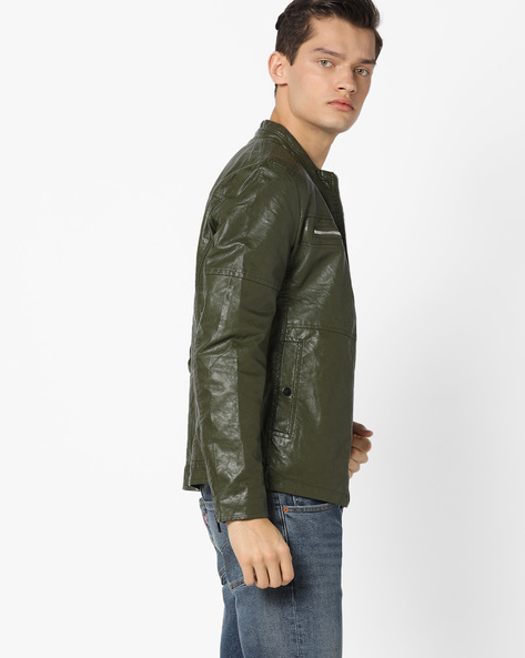 Slim Fit Biker Jacket With Mandarin Collar By The Indian Garage Co ( Green )