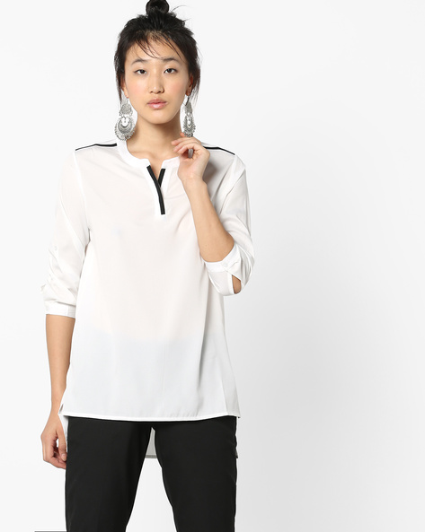 High-Low Shirt With Mandarin Collar By Project Eve WW Work ( White )