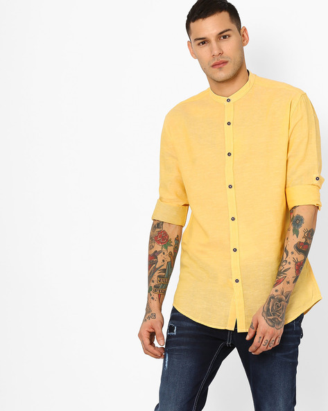 Cotton Shirt With Band Collar By British Club ( Yellow )