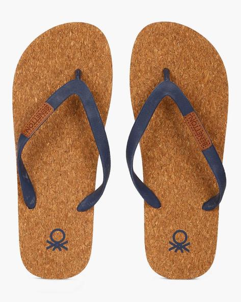 Thong-Style Flip-Flops With Cork Footbed By UNITED COLORS OF BENETTON ( Navy )