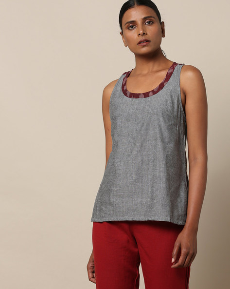 Racerback Cotton Top With Ikat Yoke By Indian Dobby ( Grey )