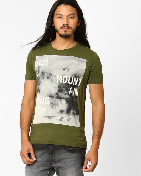 Graphic Print Slim T-shirt By FLYING MACHINE ( Assorted )