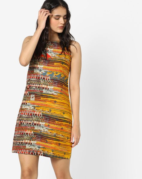 Printed Shift Dress With Back Cut-Out By Global Desi ( Mustard )