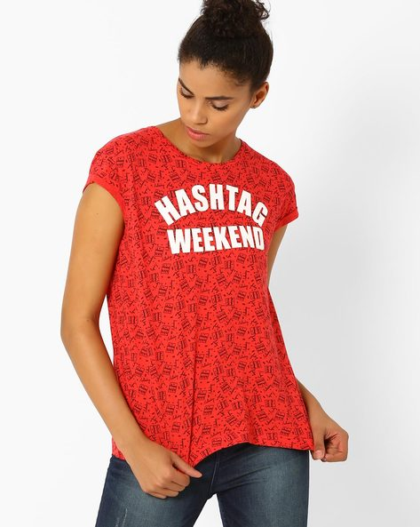 Printed Cotton T-shirt By Lee ( Red )