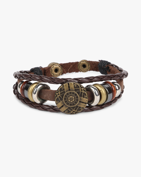 Braided Bracelet With Metal Eyelets By ALPHA MAN ( Brown )
