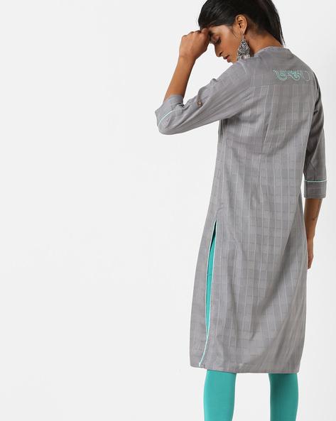 Straight Kurta With Mandarin Collar By AJIO ( Grey )