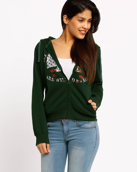 Sweatshirt With Hood By Fort Collins ( Green )
