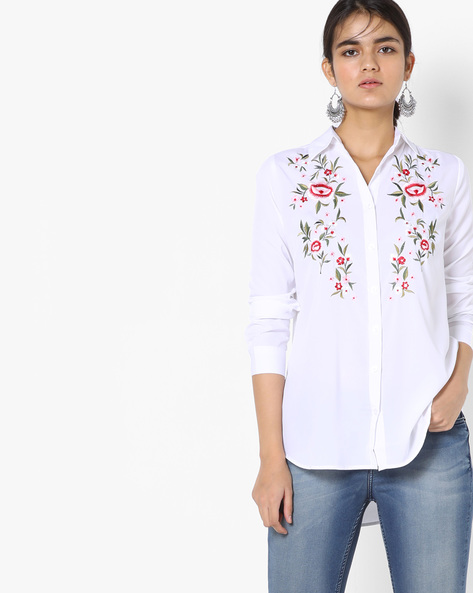 Embroidered Shirt With Spread Collar By Oxolloxo ( Ivory )