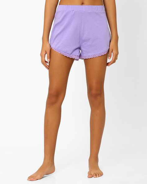 Shorts With Lace Trim By AJIO ( Lavender )