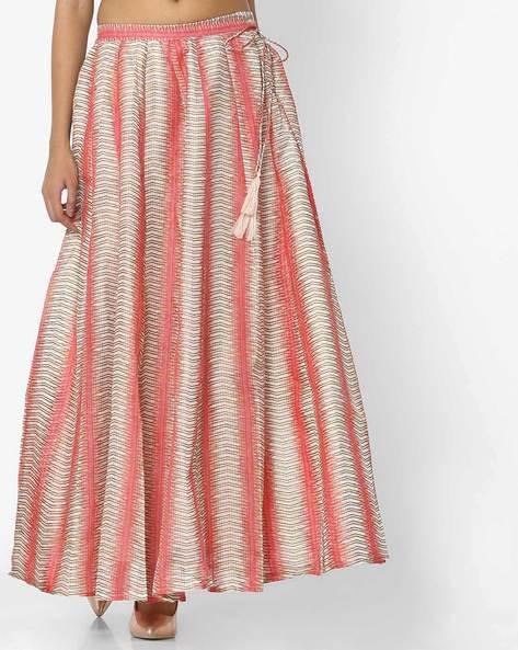 Printed Maxi Skirt By Akkriti By Pantaloons ( Lightpink )