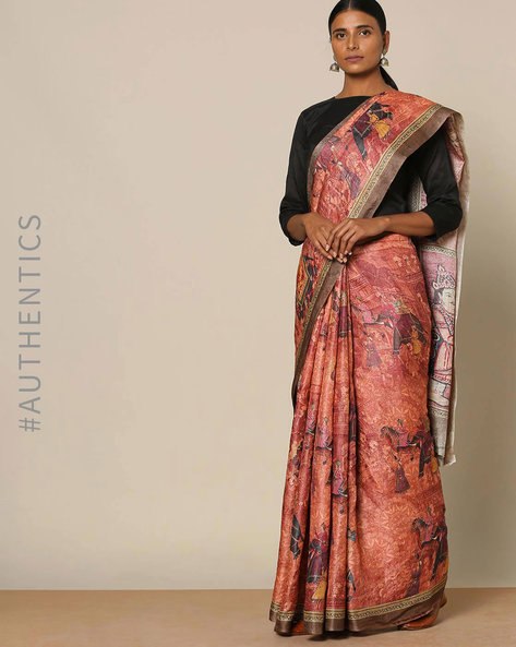 Designer Pure Silk Tussar Mythological Print Saree By Rudrakaashe-MSU ( Rust )