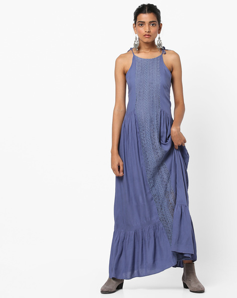 Strappy Maxi A-line Dress With Lace Panel By AJIO ( Darkblue )