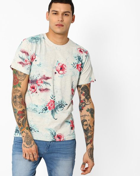 All-Over Floral Print Slim T-shirt By JOHN PLAYERS ( White )