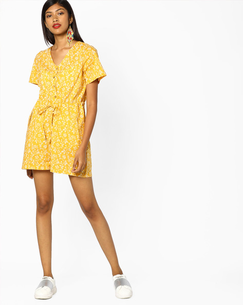 Floral Print Playsuit By AJIO ( Mustard )