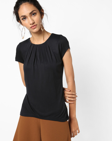Panelled Top With Front Pleats By UNITED COLORS OF BENETTON ( Black )
