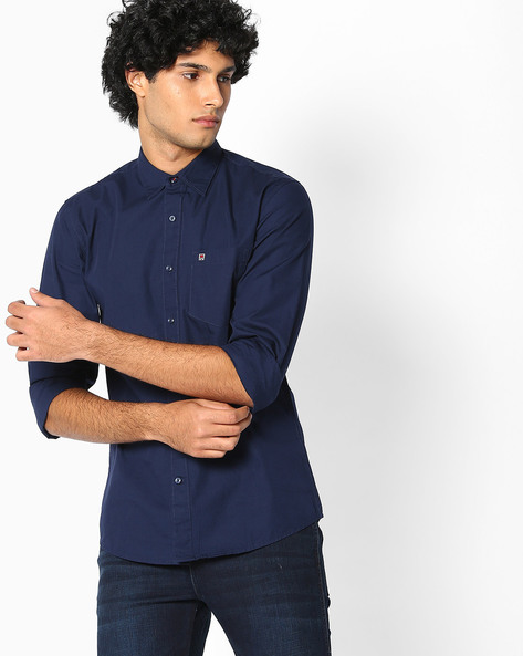 Regular Fit Shirt With Patch Pocket By WRANGLER ( Navy )