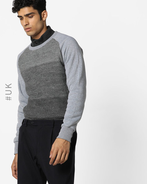Knitted Crew-Neck Sweatshirt By BRAVE SOUL ( Grey )
