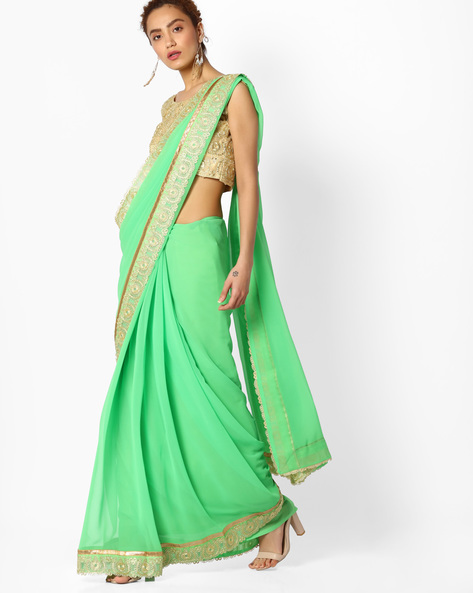 Saree With Embroidered Border By Majestic Silk ( Green )