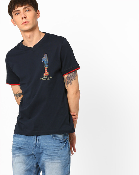 Slim Fit V-neck T-shirt By US POLO ( Navy )