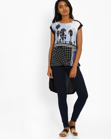 Printed High-Low Top By W ( Blue )