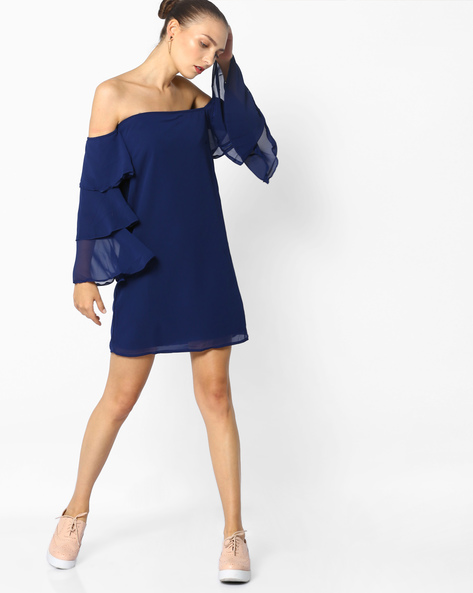 Off-Shoulder Dress With Bell Sleeves By AJIO ( Blue )