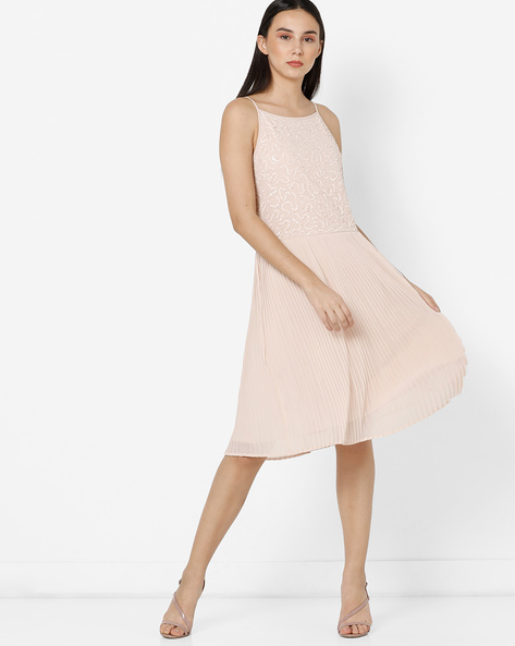 Embellished Fit & Flare Dress With Knife Pleats By Project Eve WW Evening ( Ltpeach )