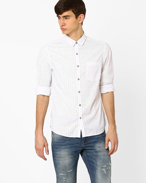 Printed Slim Fit Shirt By JOHN PLAYERS ( White )