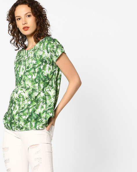 Tropical Print Crew-Neck Top By PE WW Casual ( Offwhite )