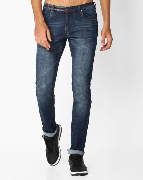 Lightly Washed Slim Fit Jeans By DNM X ( Mediumblue )