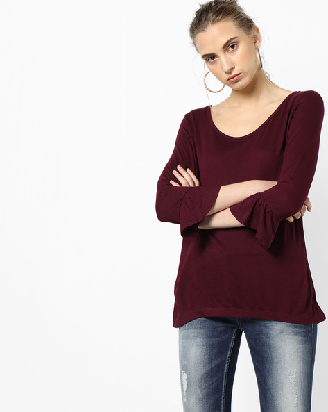 Knit Top With Back Tie-Up By Project Eve WW Casual ( Burgandy )