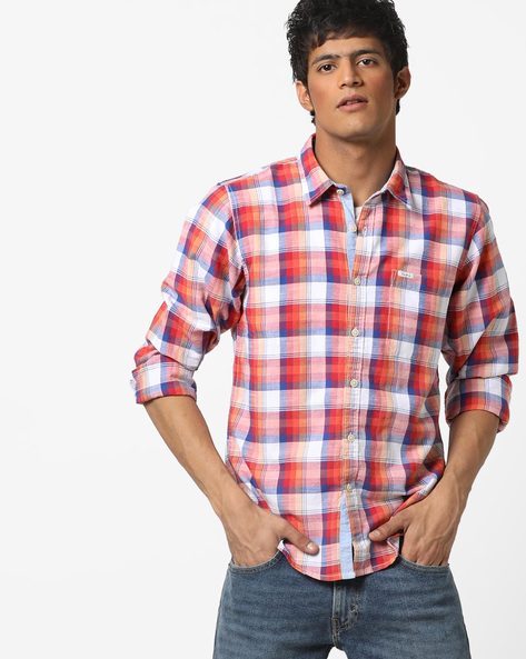 Checked Shirt With Spread Collar By Pepe Jeans ( Red )