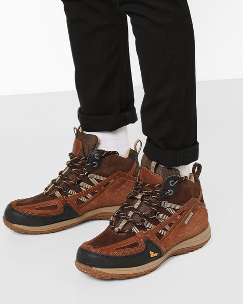 High-Top Panelled Lace-Up Shoes By RED CHIEF ( Brown )