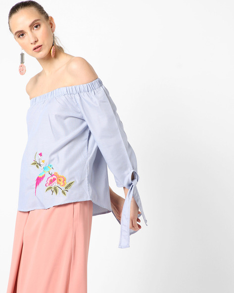 Pinstriped Off-Shoulder Top With Embroidery By RI-DRESS ( Blue )