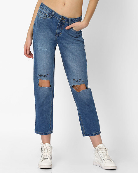 Lightly Washed Cropped Boyfriend Jeans By AJIO ( Lightblue )