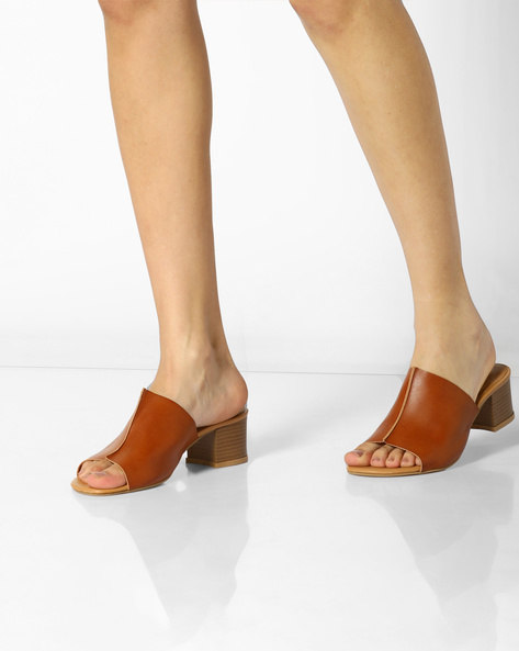 Heeled Mules With PU Upper By AJIO ( Tan )
