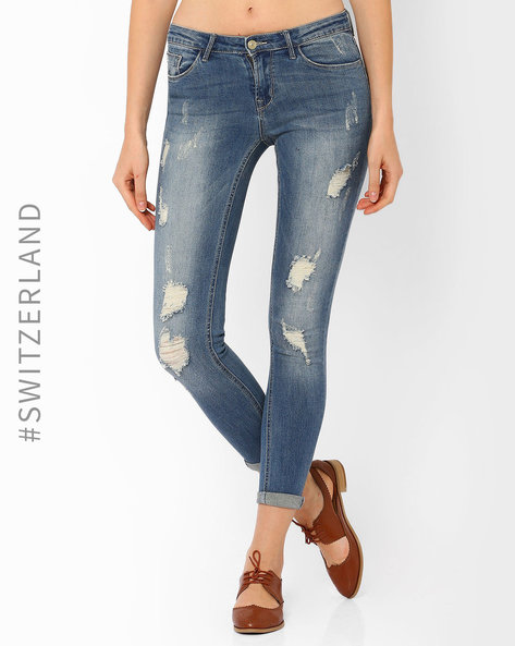 Distressed Skinny Jeans By TALLY WEiJL ( Blue )