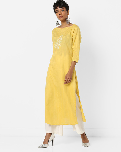 Straight Dobby Kurta With Front Embroidery By AJIO ( Yellow )