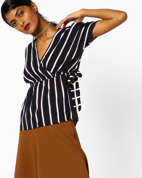 Striped Top With Tie-Up By Oxolloxo ( Multi )