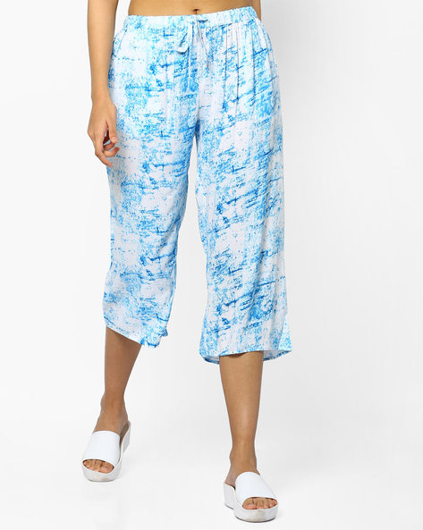 Printed Culottes With Tie-Up By PE IW Fusion ( Turq )