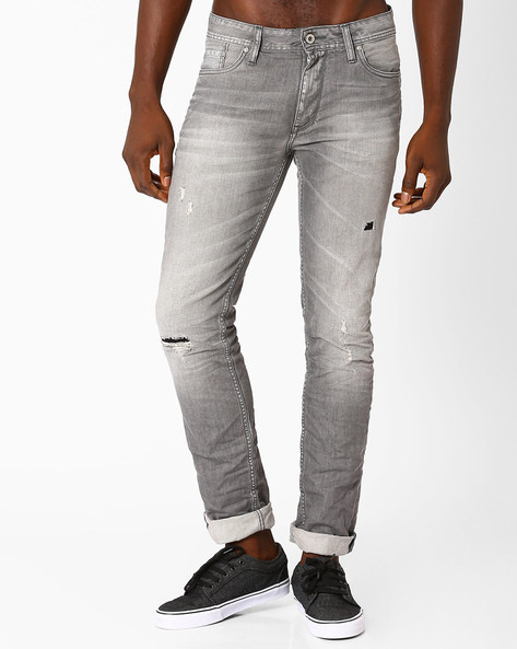 Distressed Slim Fit Jeans By Jack & Jones ( Grey )