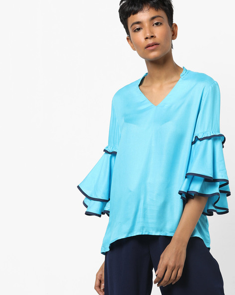 Boxy Top With Layered Sleeves By AJIO ( Blue )