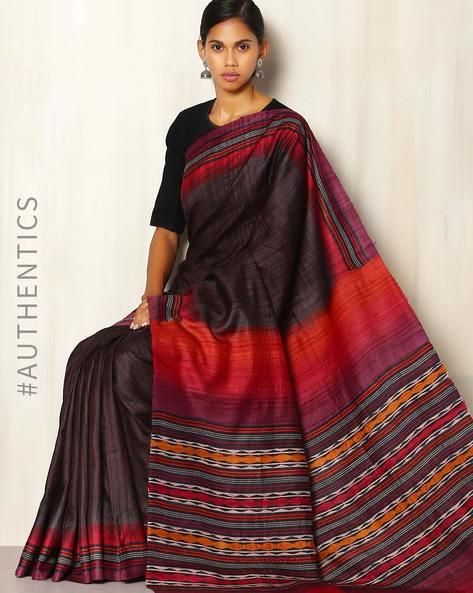 Handblock Print Pure Silk Desi Tussar Handloom Saree By Sujata Weaves And Prints ( Black ) - 460069838001