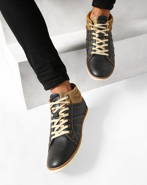 Mid-Top Panelled Casual Shoes By ESCARO ( Black )