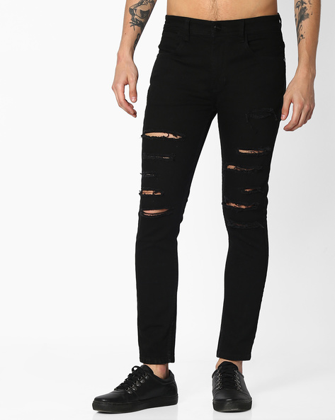 Heavily Distressed Skinny Jeans By ADAMO LONDON ( Black )