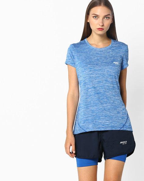 Slub-Knit T-shirt With Go-Dry Technology By 2Go ( Blue )