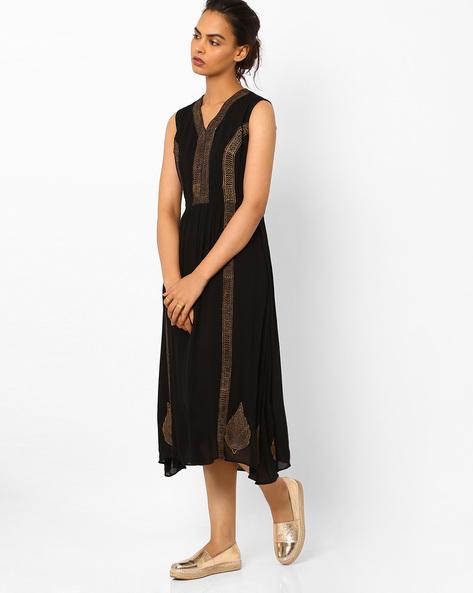 Handblock Print Fit & Flare Dress By Vajor ( Black )