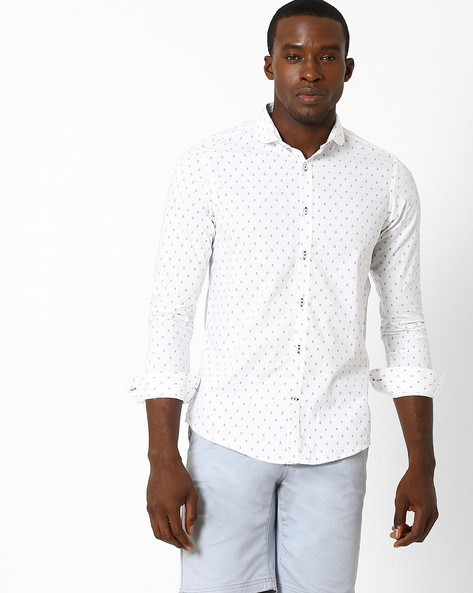 Printed Slim Fit Shirt With Club Collar By MR.BUTTON ( White )