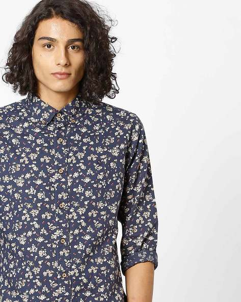 Slim Fit Printed Shirt With Button-Down Collar By UNITED COLORS OF BENETTON ( Navy )