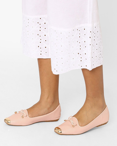 Textured Slip-Ons With Metal Accents By MFT Couture ( Pink )